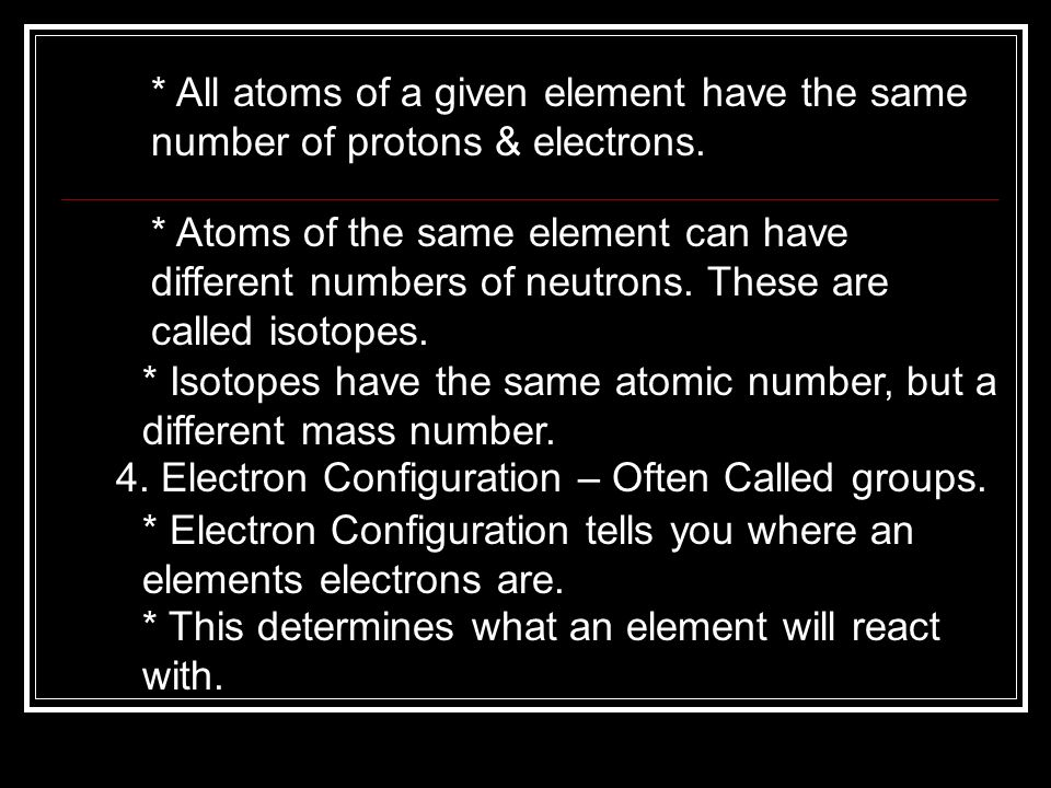 All atoms of a given element have the same