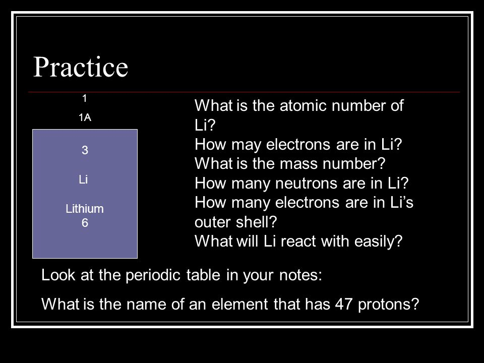 Practice What is the atomic number of Li How may electrons are in Li