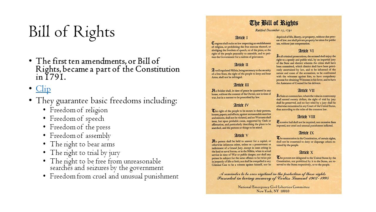 the bill of rights the first Start studying bill of rights (first 10 amendments) learn vocabulary, terms, and more with flashcards, games, and other study tools.