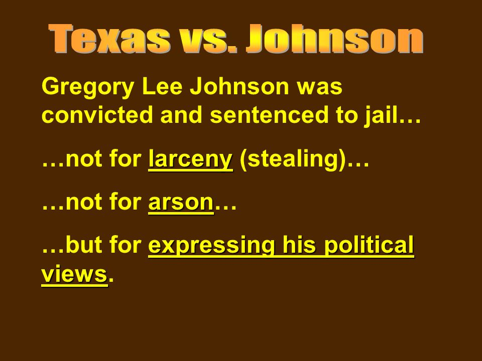 an analysis of the case texas versus gregory lee johnson Johnson certiorari to the court of criminal appeals of texas _____ no 88-155 argued: march 21, 1989 --- decided: june 21, 1989 this case analysis of texas v gregory lee johnson was a supreme court case that overthrew bans on damaging the american flag in 48 of the 50 states.