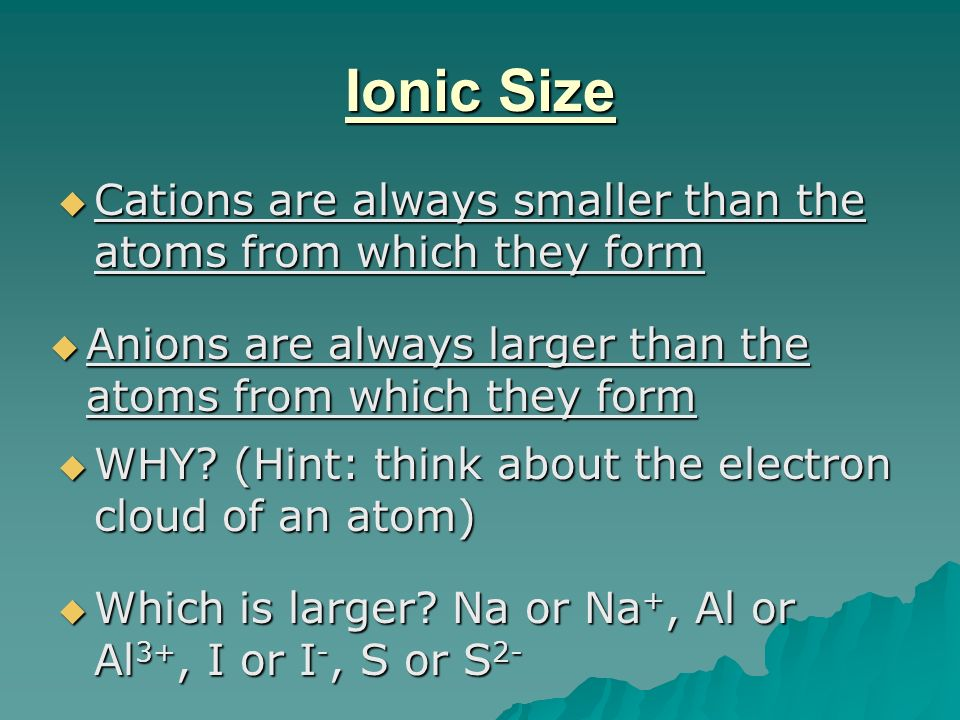Ionic Size Cations are always smaller than the atoms from which they form. Anions are always larger than the atoms from which they form.
