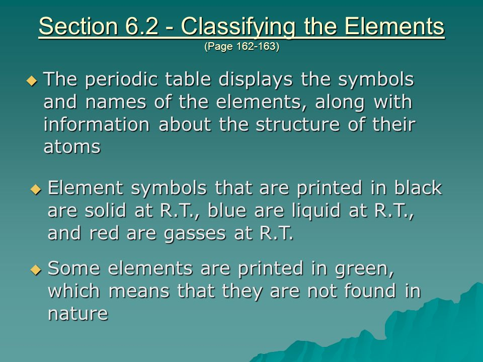 Section Classifying the Elements (Page )