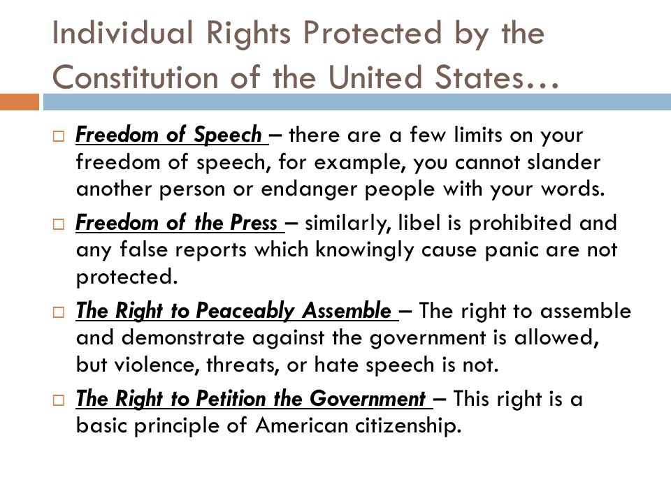 the individual freedoms in the united states should be protected Home opinions  politics  do you think the rights of the individual are more important than  individual should always be protected,  united states should.