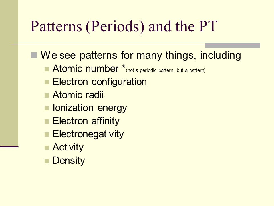Patterns (Periods) and the PT