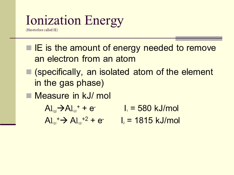 Ionization Energy (Heretofore called IE)