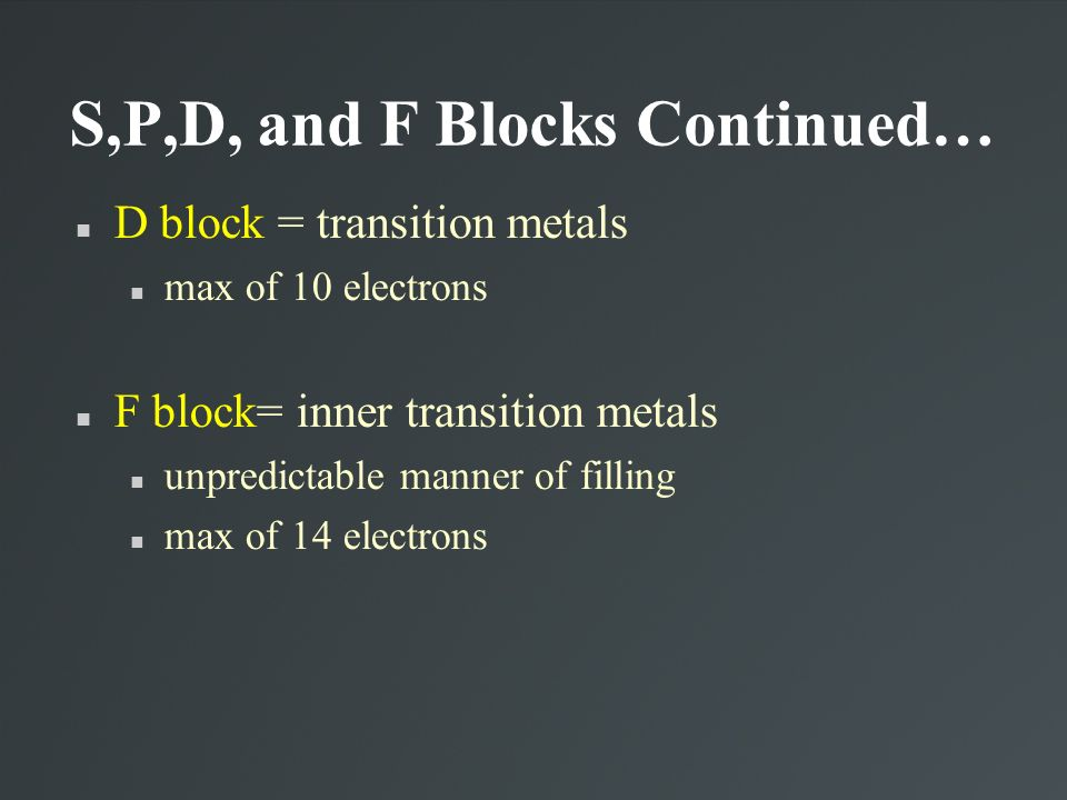 S,P,D, and F Blocks Continued…