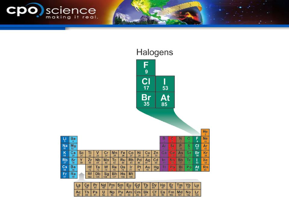 12.3 Halogens The halogens tend to be toxic gases or liquids in their pure form.
