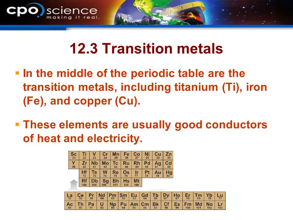 12.3 Transition metals In the middle of the periodic table are the transition metals, including titanium (Ti), iron (Fe), and copper (Cu).