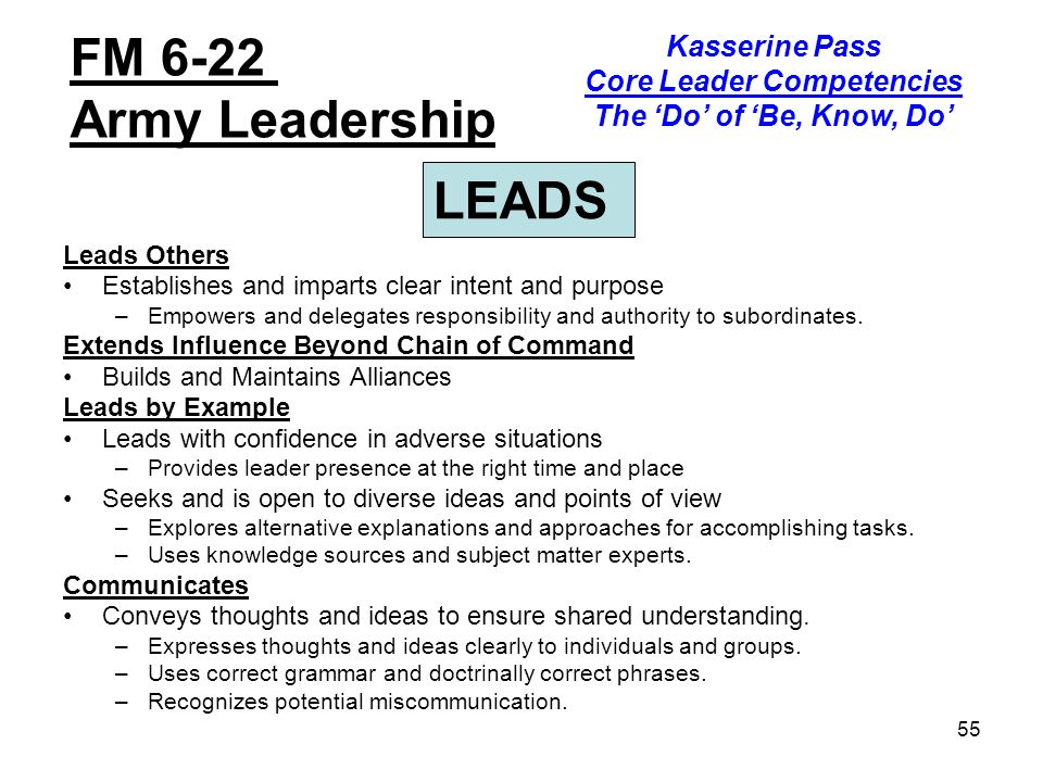 an analysis of the army leadership philosophy of be know do The us military has been doing this for some time, and obviously realized the need for a formalized leadership institution in 1802, with the establishment of the us military academy at west point, ny my experience in leadership development, working with the thayer leader development group, has placed me in the.