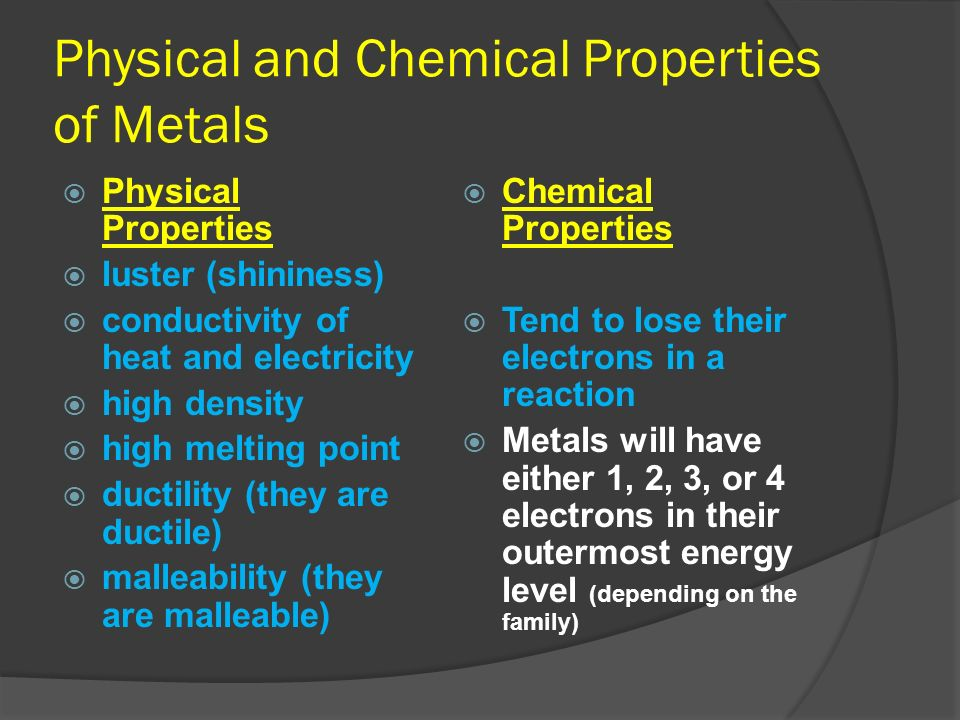 Physical and Chemical Properties of Metals