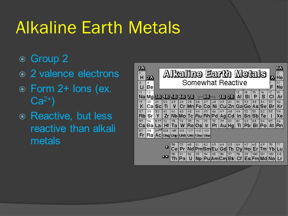Alkaline Earth Metals Group 2 2 valence electrons