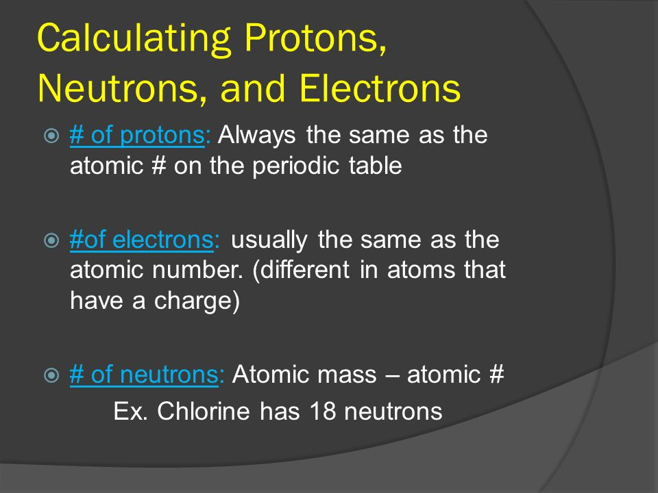 Calculating Protons, Neutrons, and Electrons