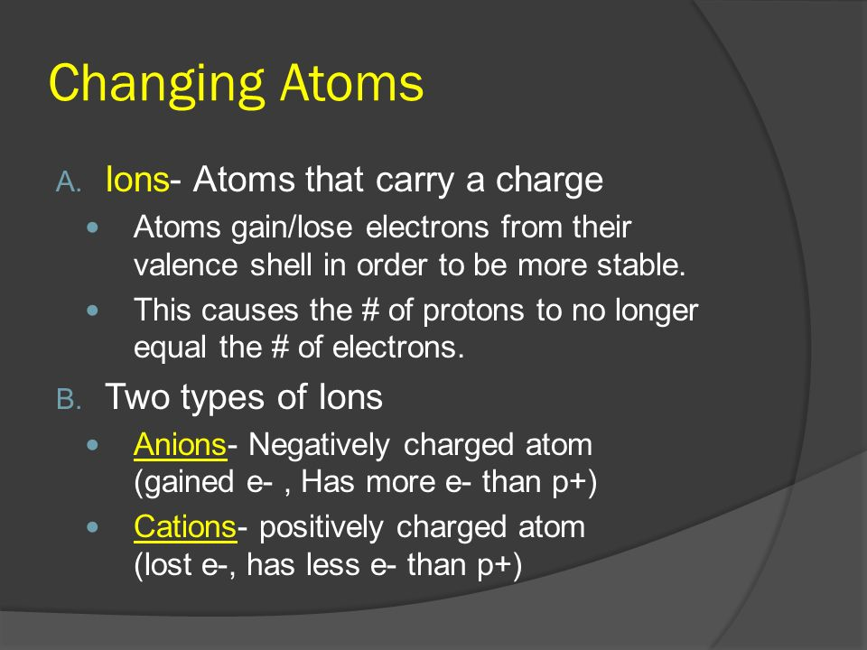 Changing Atoms Ions- Atoms that carry a charge Two types of Ions