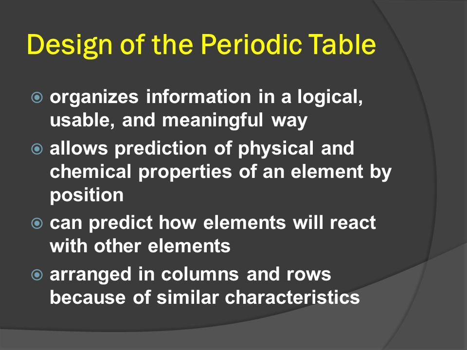 Design of the Periodic Table