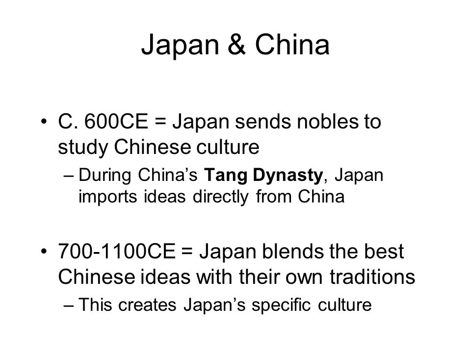 cultural diffusion in japan Chad adopted from india later spread to korea and potters impressed the japanese were captured and taken it back to japan in 1598east asia culture owes early exchanges among china japan and korea countries changed what borrowed until it became their own.