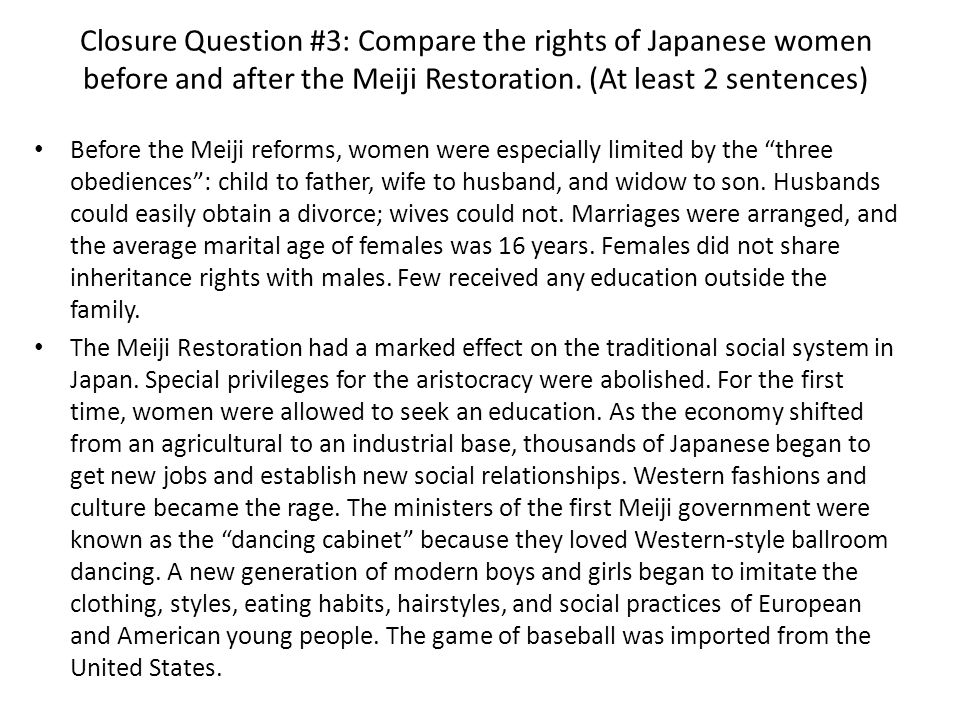 """the transformation of marriage in meiji An ambitious young man of the 1880s, flattering a girl he may want to marry (or  may not, if a  the meiji era (1868-1912) was characterized by full-throttle  of  the transformation, """"everything had to be in the western manner."""