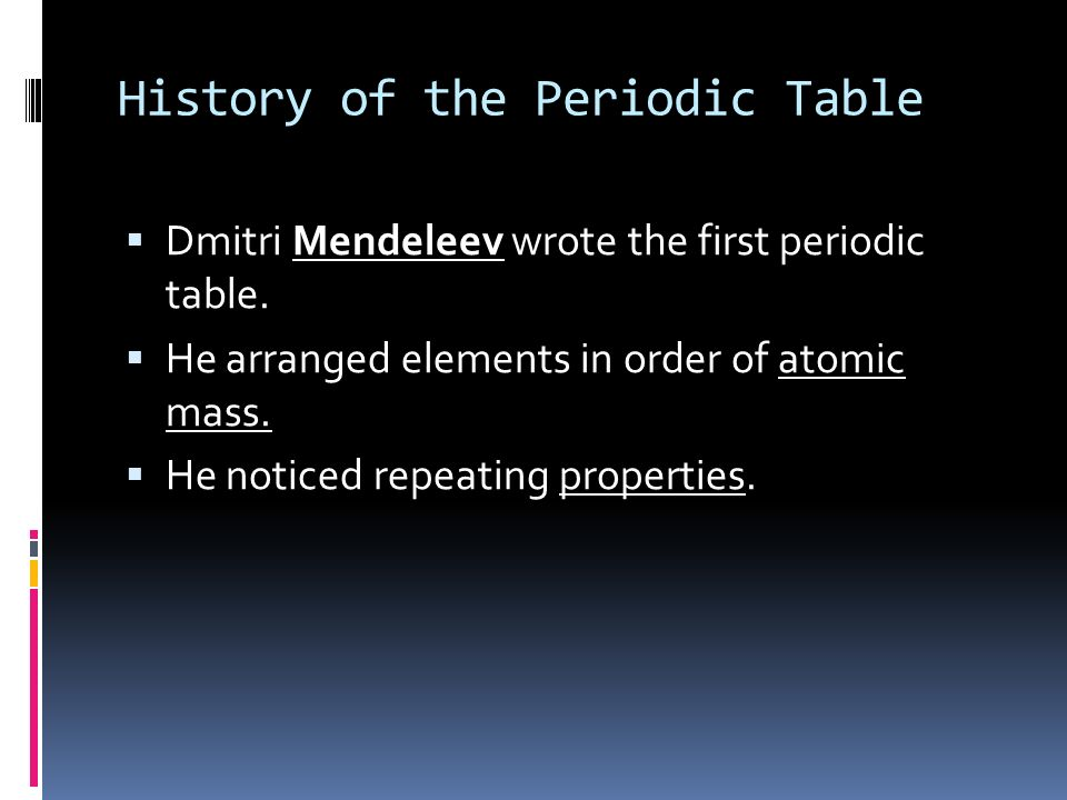 the history of the periodic table Periodic table formulations from the years before 1900, by date:  the museum  of the history of science, oxford, has a display of charles daubeny's teaching.