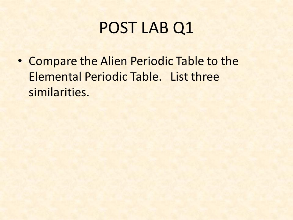 Lab 08 alien periodic table ppt video online download post lab q1 compare the alien periodic table to the elemental periodic table urtaz Images
