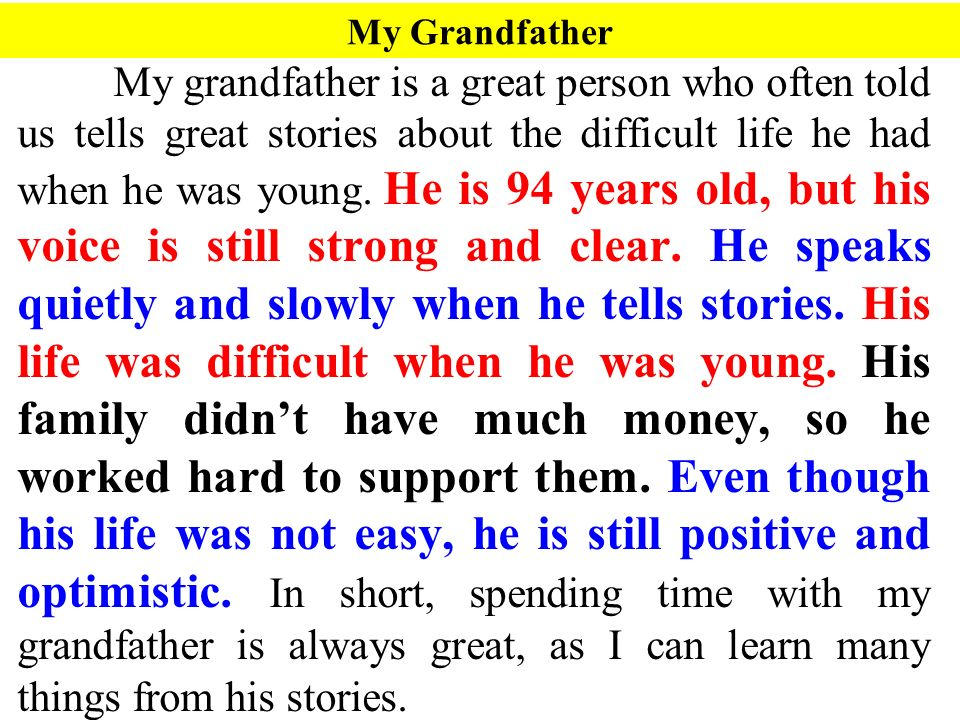 descriptive paragraph ppt video online 15 my grandfather