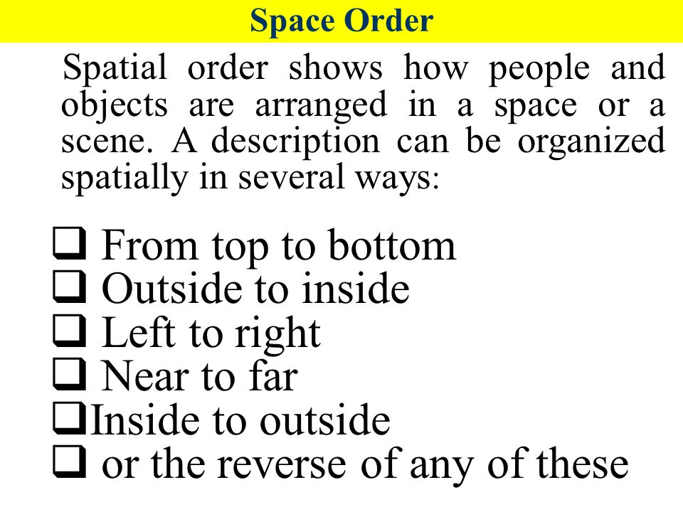 spatial order of an essay Spatial order essay reading al purdy to find a single quotation, i descriptive essay with spatial order find myself michigan state university application essay at the end of the poem.