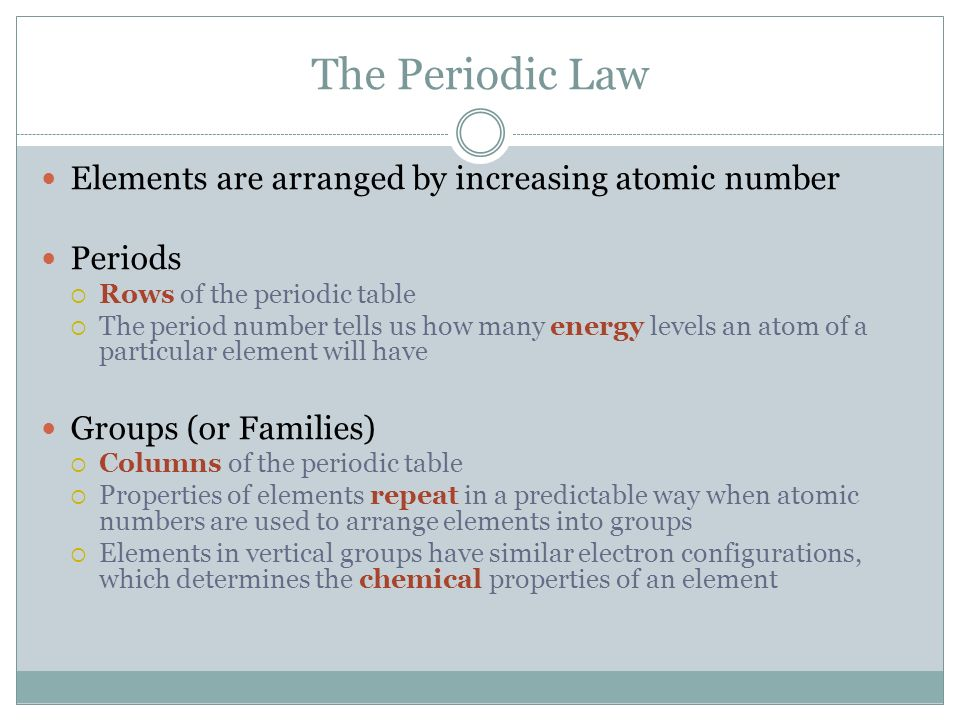 The periodic table chapter ppt video online download 16 the periodic law elements are arranged by increasing atomic number urtaz Image collections