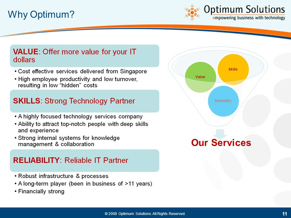 Why Optimum Skills Value Reliability Our Services