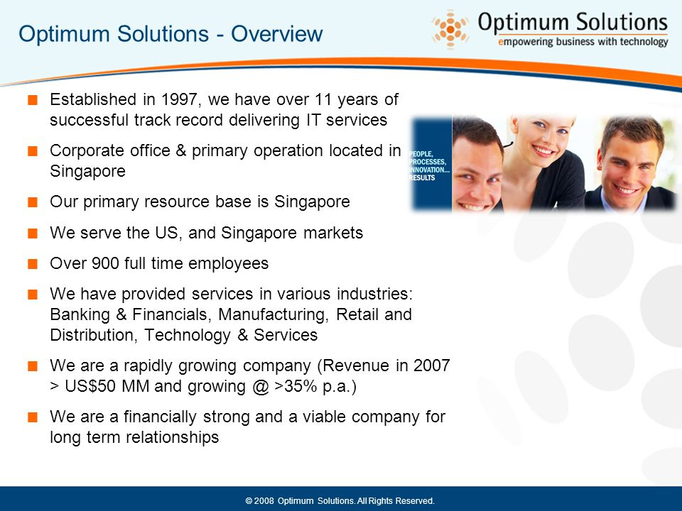 Optimum Solutions - Overview