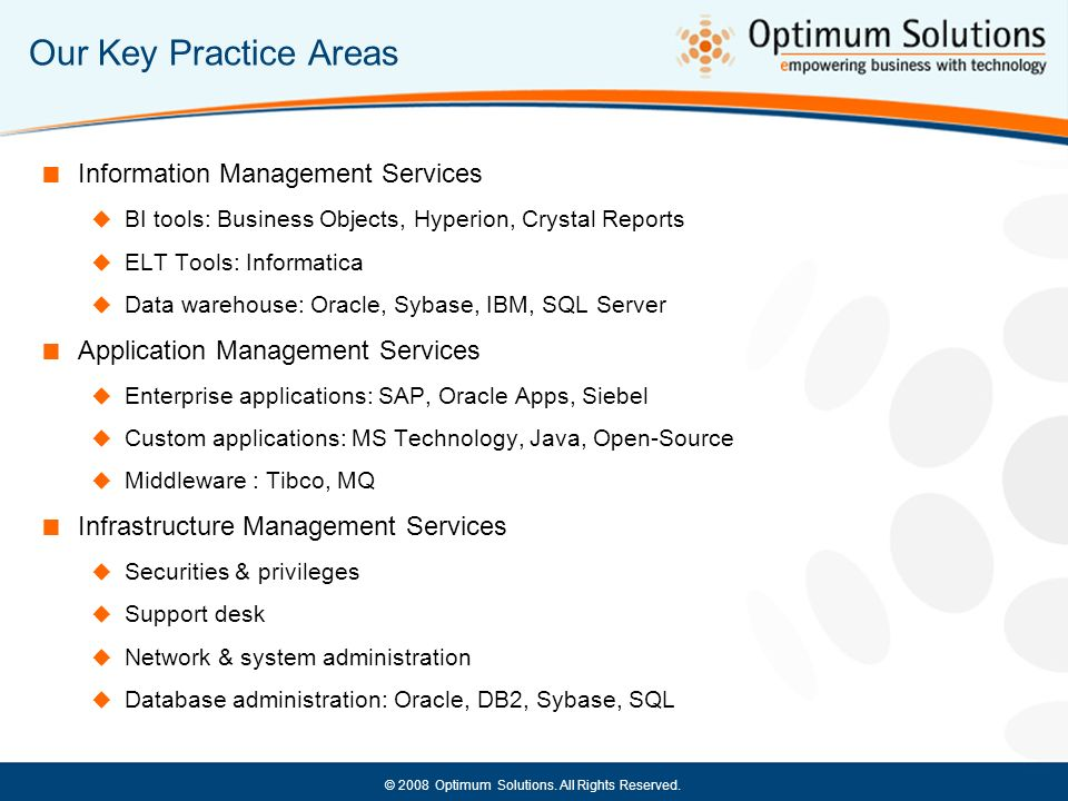 Our Key Practice Areas Information Management Services
