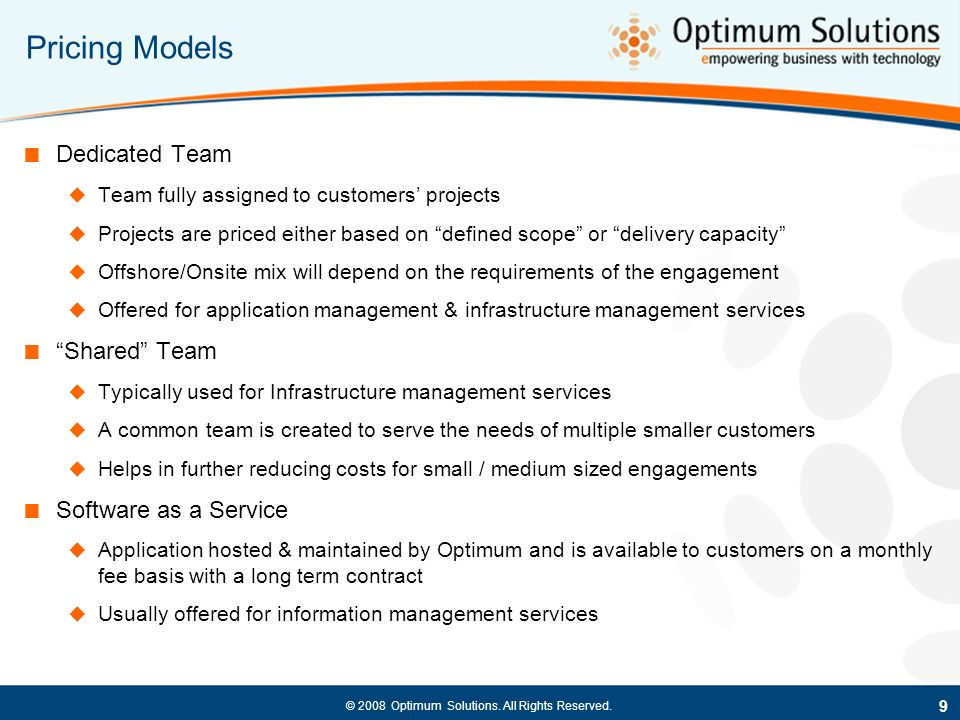 Pricing Models Dedicated Team Shared Team Software as a Service