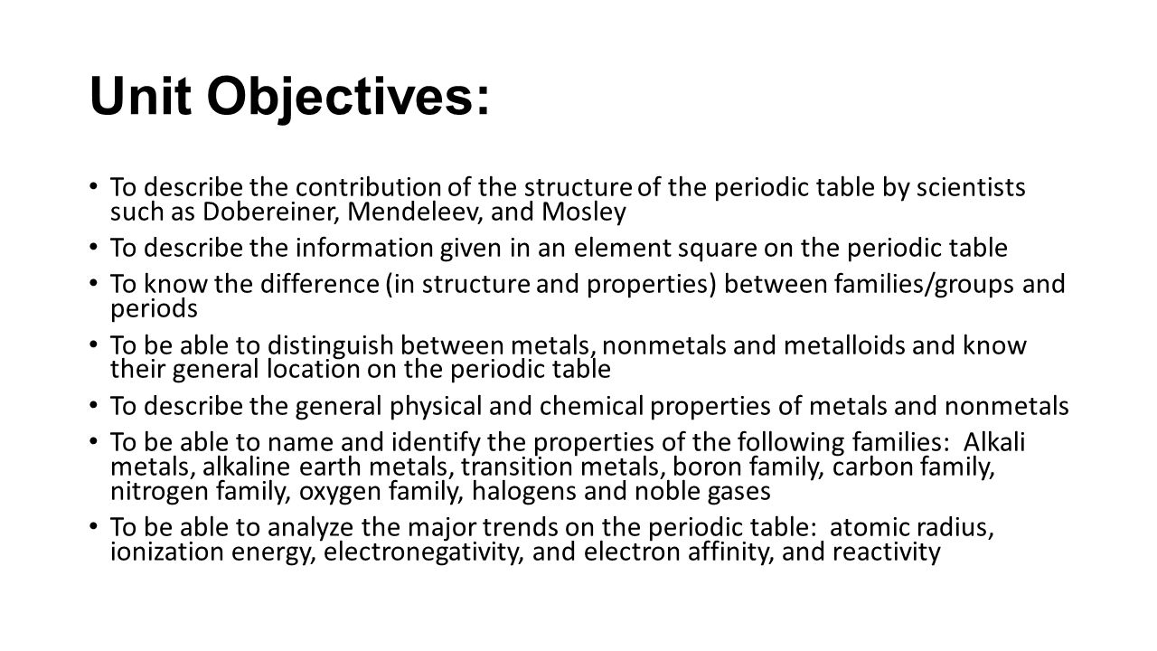 Unit 3chapters 3 8 notes chemistry cpa ppt download unit objectives to describe the contribution of the structure of the periodic table by scientists gamestrikefo Choice Image