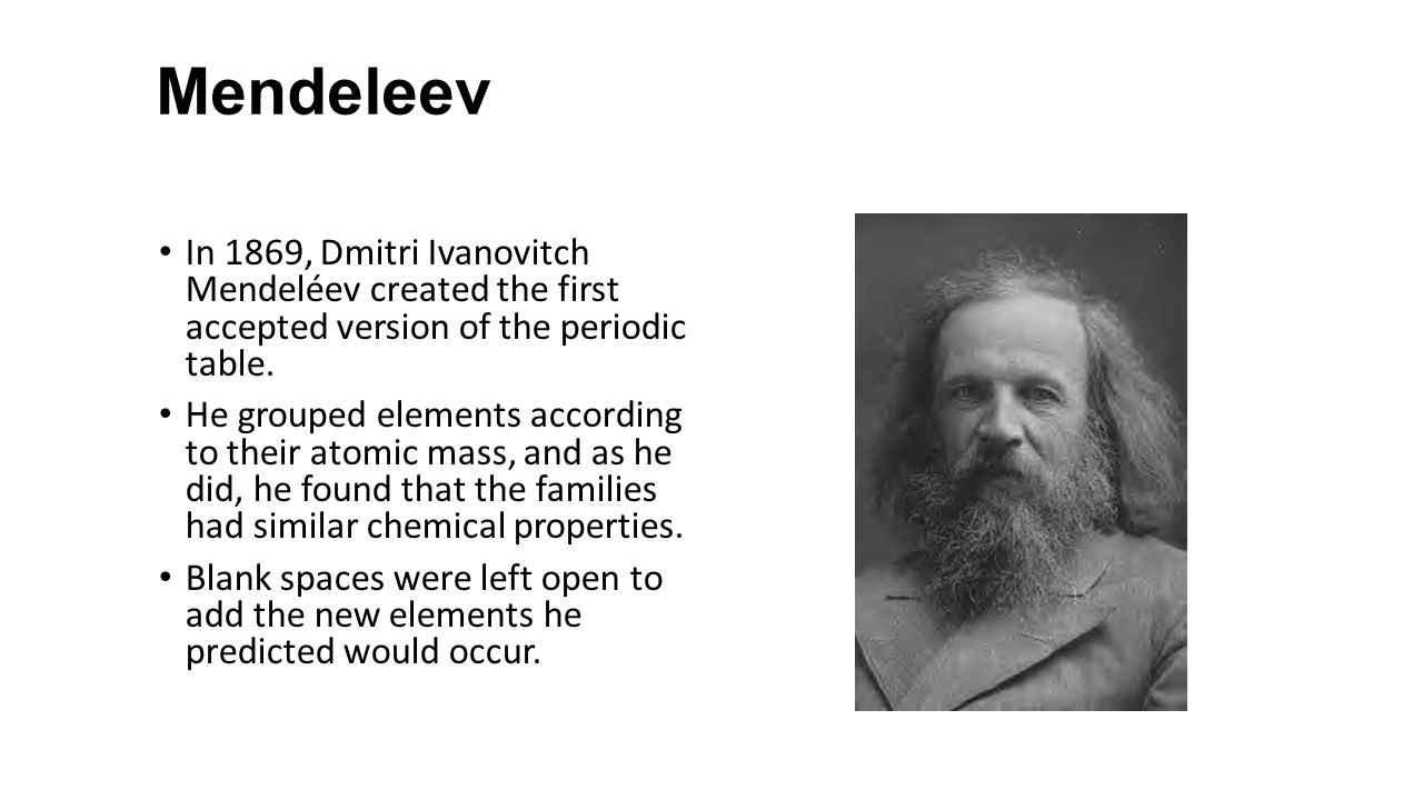 Unit 3chapters 3 8 notes chemistry cpa ppt download mendeleev in 1869 dmitri ivanovitch mendelev created the first accepted version of the periodic table gamestrikefo Choice Image