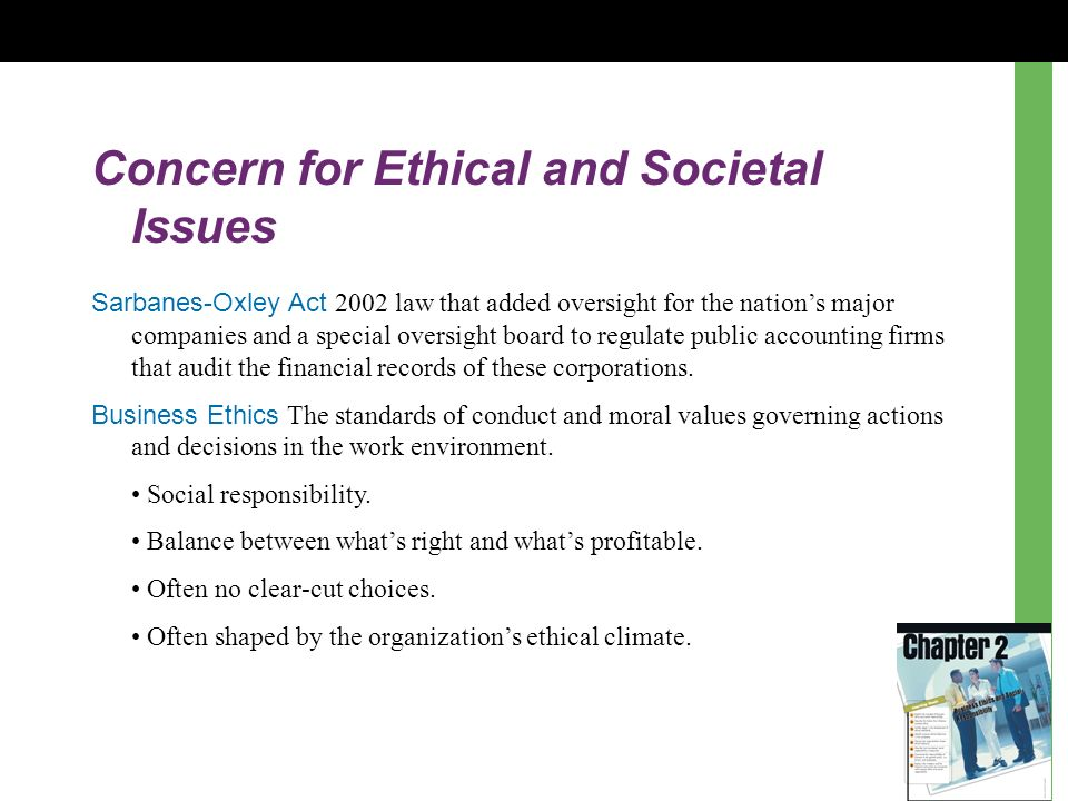 Concern for Ethical and Societal Issues