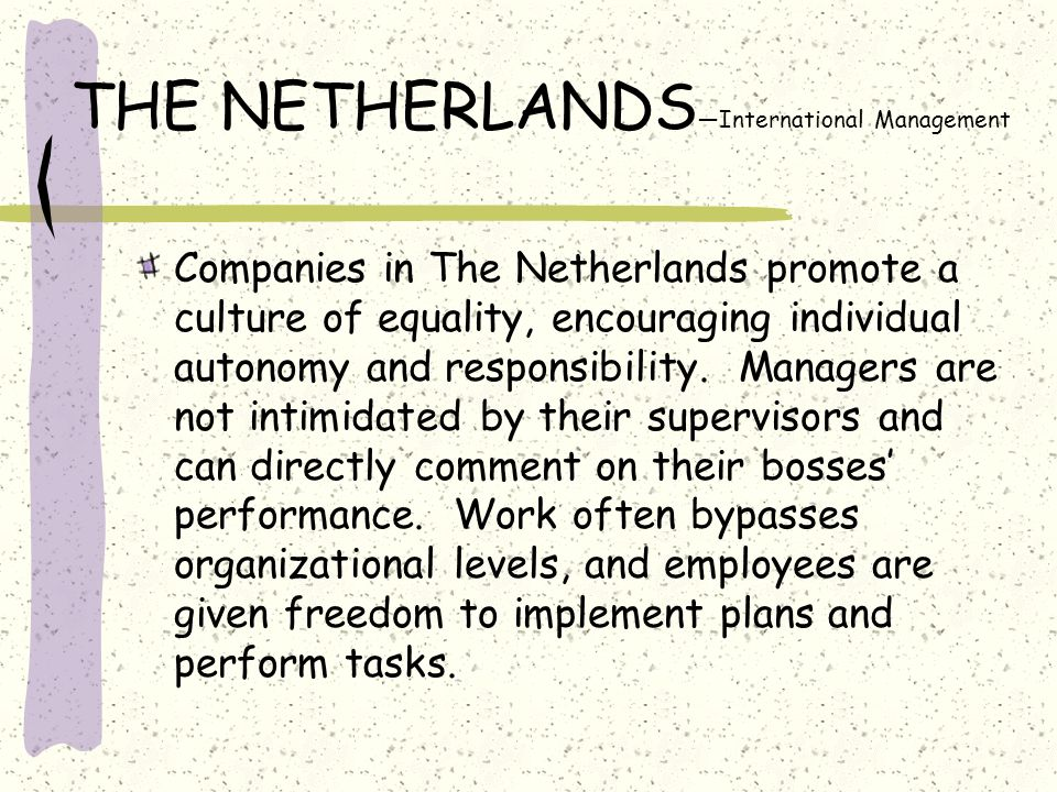 THE NETHERLANDS—International Management