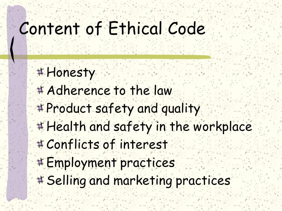 Content of Ethical Code