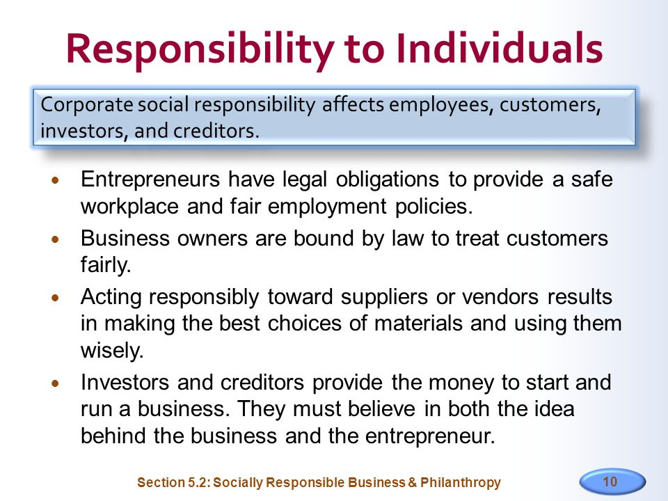 Responsibility to Individuals