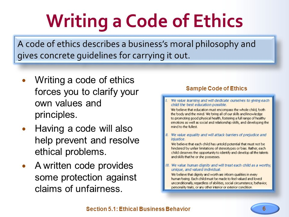 Writing a Code of Ethics