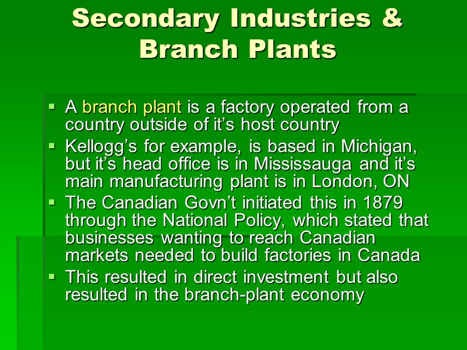 branch plants advantages It is not entirely evident who first used the branch plant economy concept however, it has been extensively used in canadian and uk literature since the 1970s.