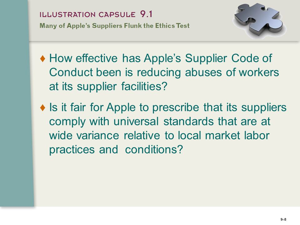 apples ethics and supplier code of conduct Ethics apple suppliers must be committed to the highest standards of ethical faith or refuse an order that is in violation of this apple supplier code of conduct.
