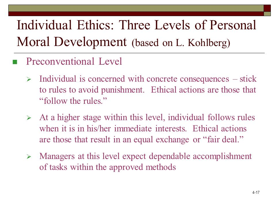 Individual Ethics: Three Levels of Personal Moral Development (based on L. Kohlberg) Preconventional Level.