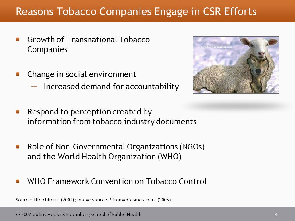 csr in the tobacco industry Tobacco industry and corporate responsibility  name of corporate social responsibility (csr)  despite the tobacco industry's thinly-veiled at-.