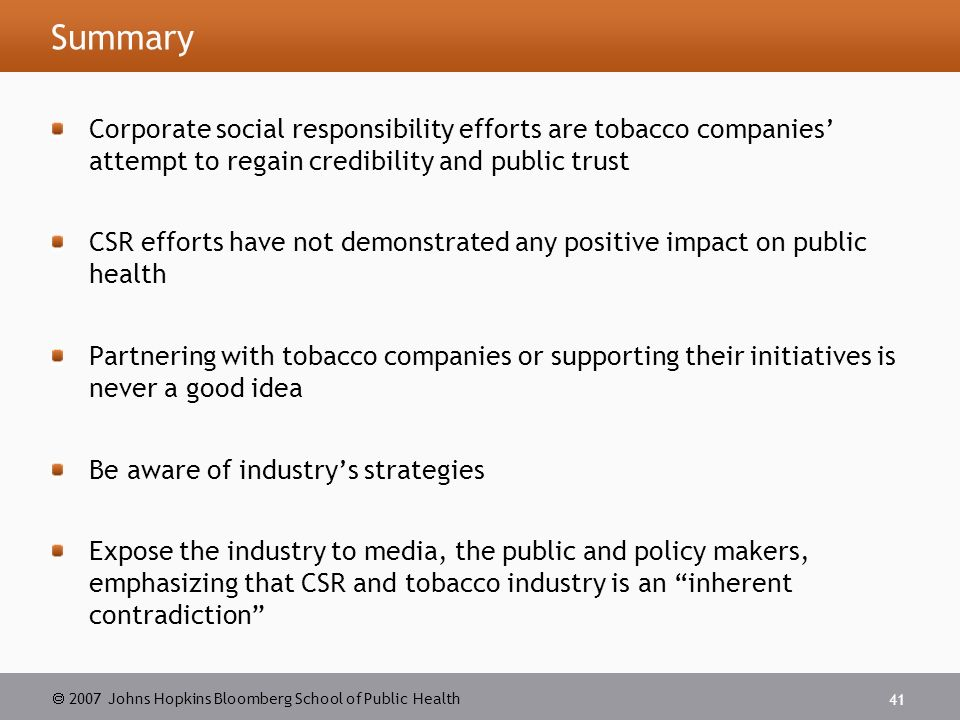 csr in the tobacco industry Policy forumsoda and tobacco industry corporate social responsibility campaigns: how do they compare lori dorfman1, andrew cheyne1.
