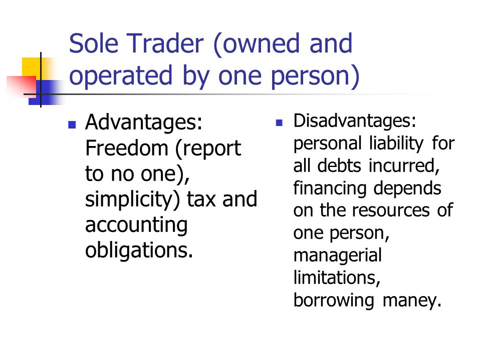 Sole Trader (owned and operated by one person)