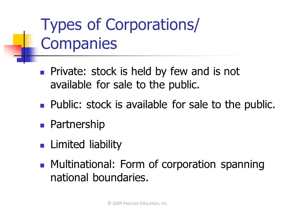 Types of Corporations/ Companies