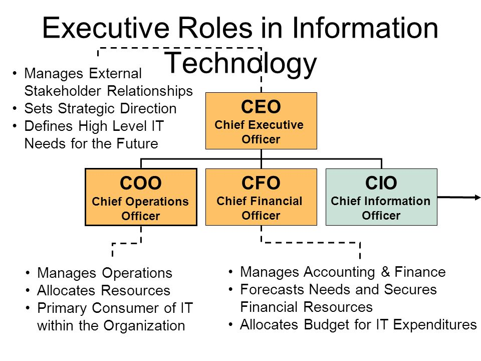 Executive roles in information technology ppt video online download - Chief information technology officer ...