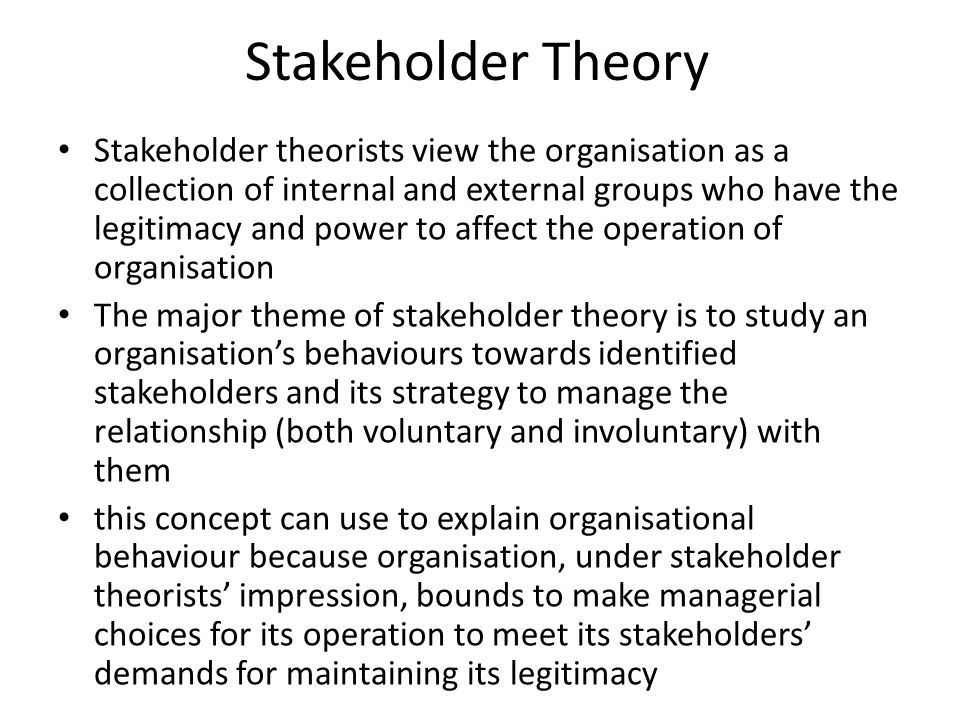 an analysis of the concept of stakeholder economy Stakeholder analysis and natural resource by developments principally in political economy that the stakeholder concept is becoming as.