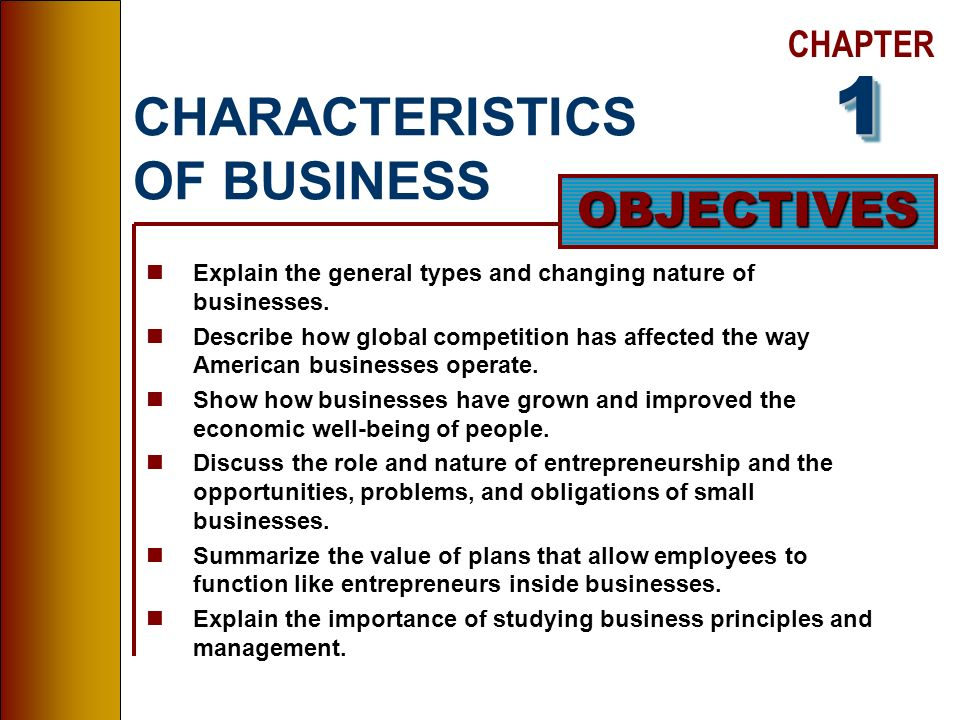 type of business plan and characteristics