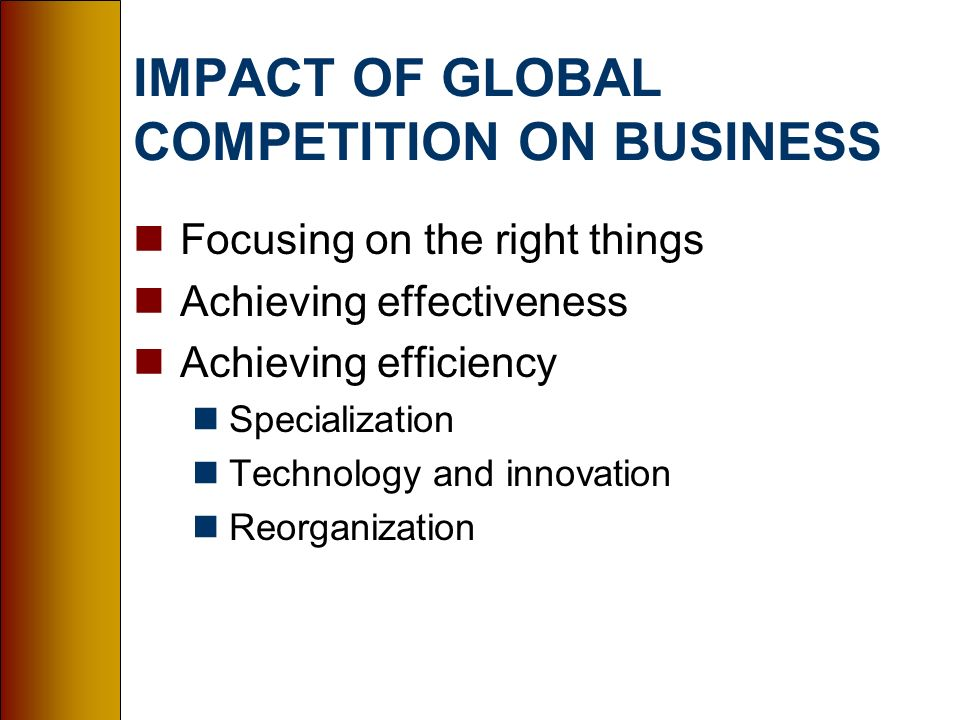 impact of globalization on business and Business & finance industries q: what are the positive and negative effects of globalization a: quick answer proponents of globalization argue that it is economically stimulating, encouraging not only the free play of market forces but entrepreneurship and innovation as well.