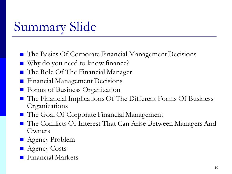 financial management decisions This lesson will introduce you to the importance of financial management decisions made in four important areas will affect the future health of.