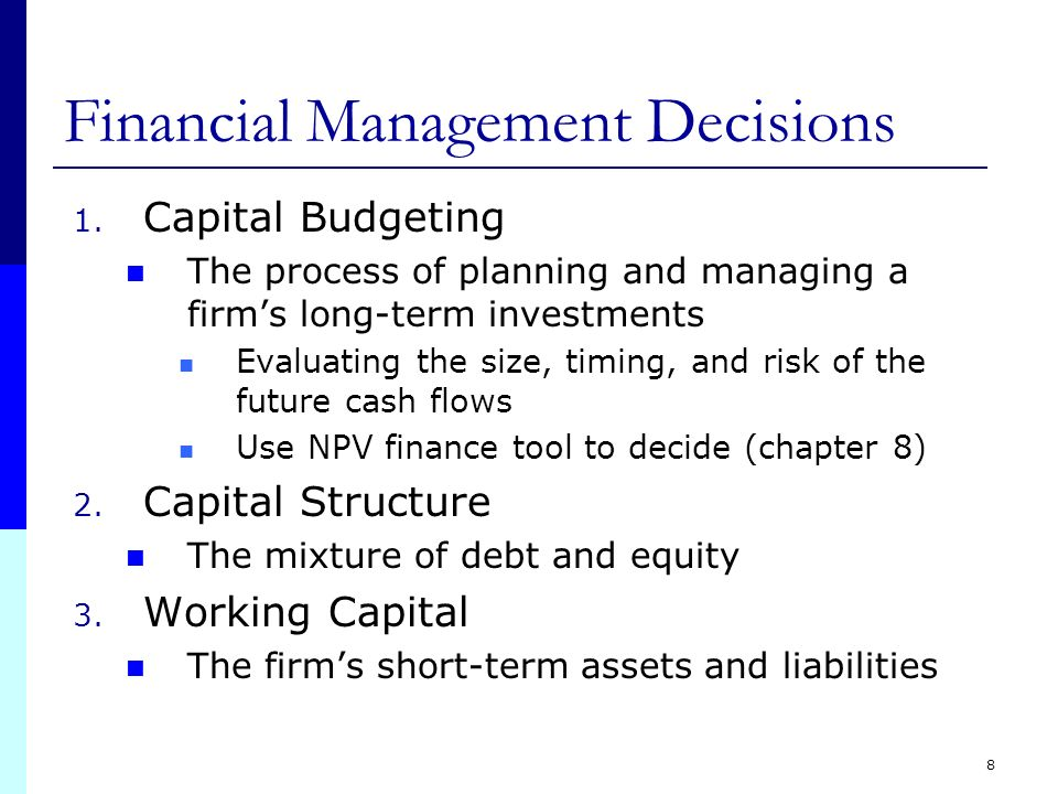 making capital budgeting and capital structure Capital budgeting is the process in which a business determines whether  projects  influences the profitability of the firm making capital budgeting an  important task  to have by the long-term investment of the funds in their capital  structure.