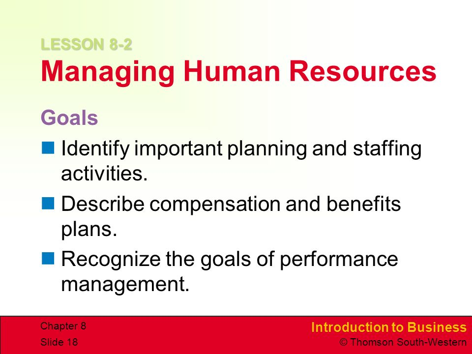 LESSON 8-2 Managing Human Resources